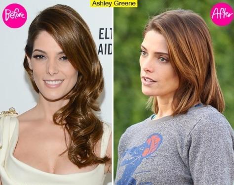 Ashley Green Vorher vs. Nachher Frisurveränderung